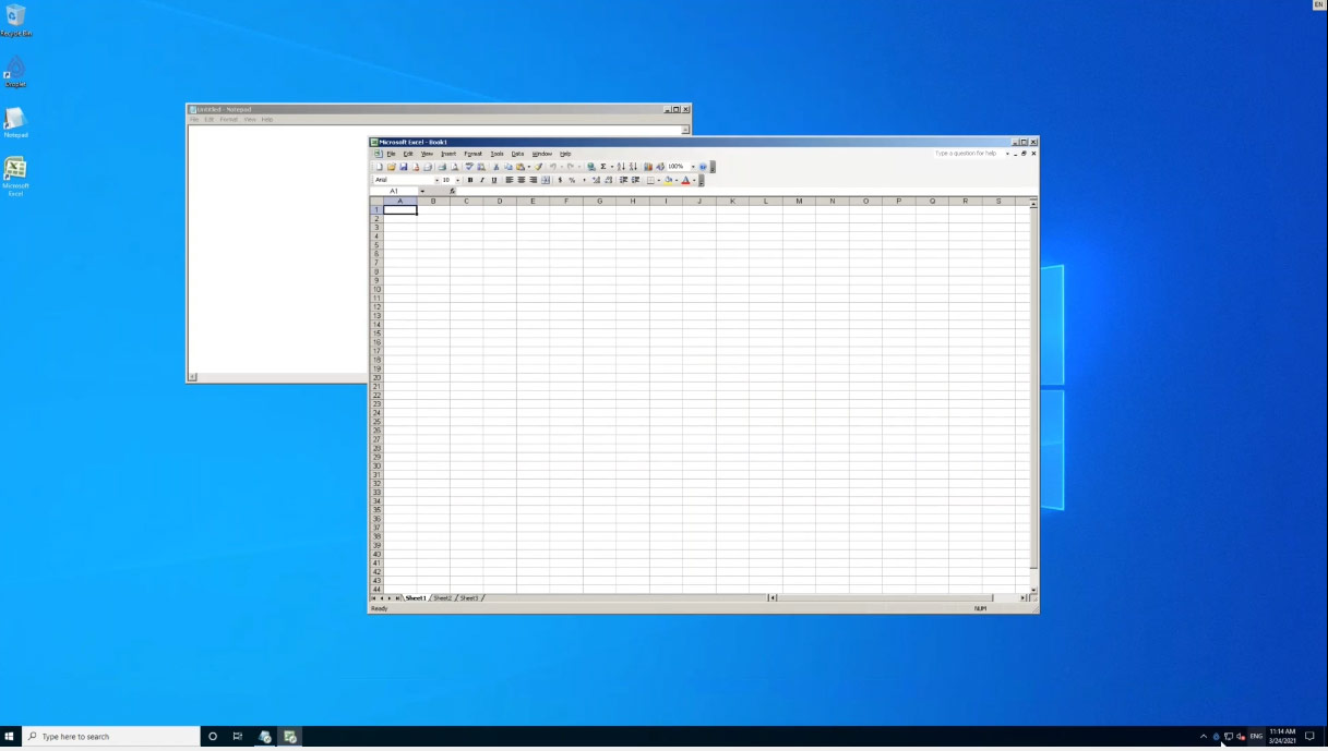 Seamlessly loading Excel 2003 in a container